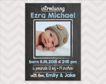 Chalkboard Birth Announcement  -  Baby Boy Announcement - photo card - custom colors available!