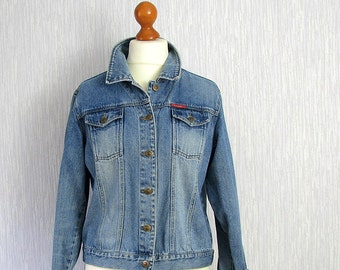 Blue Denim Jacket, long sleeve, oversized plus with button fasten