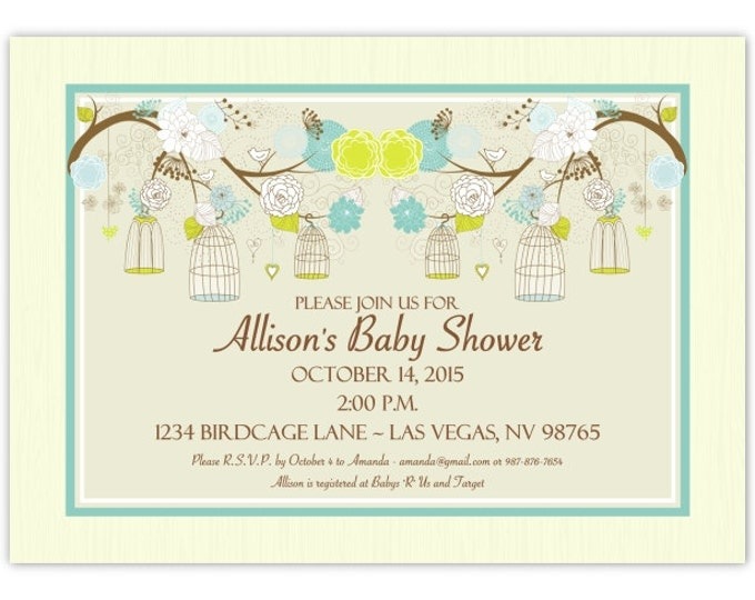 Birdcage Baby Shower Invitation, Blue, Green Birdcage Shower Invite, Birdcage Invitation, Digital Design, CUSTOM, 4x6 or 5x7 size, YOU print