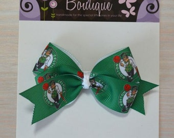 Boutique Style Hair Bow - Boston Celtics