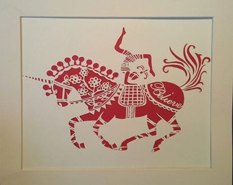 digital file, Believe Circus horse a4  paper cut template for personal use, only will be emailed within 48 hours