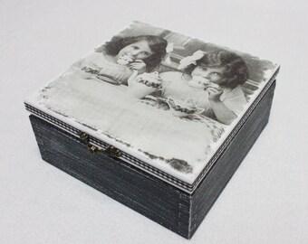 Vintage Black Tea Time Wooden Tea Box,  4 Sections, Tea for Two, Personalised Tea Box, Wooden Tea storage , Kitchen storage