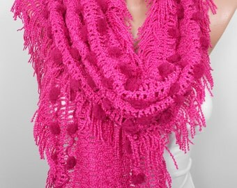 Pom Pom Scarf Hot Pink Scarf Shawl Women Fall Winter Scarf Holiday Gift Fashion Accessories Christmas Gifts For Her For Women For Teen Girls