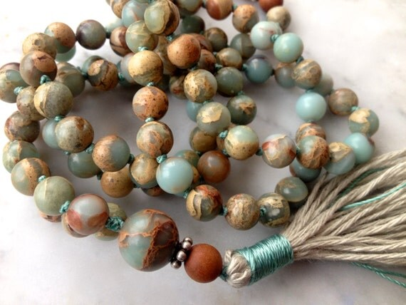 Boho African Opal Mala Beads, Peruvian Blue Opal, Sandalwood, 108 Prayer Beads, October Birthstone, Unisex Mala, Healing Beads, Yoga Jewelry