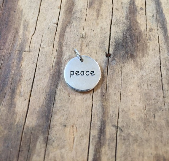 OVERSTOCK SALE Peace Charm, Sterling Silver Word CharmmAdd A Charm to your Mala Tassel Sterling Silver Peace Word Charm