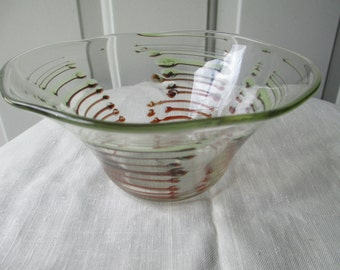 M. Rhys Williams art glass bowl Sidned and Dated