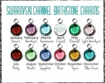 One Sterling Silver Plated Flat Swarovski Crystal Birthstone Charm Birthstone charms Add a birthstone charm Swarovski crystal channel drop