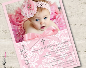 Girl Baptism Invitation Christening Invitation Photo