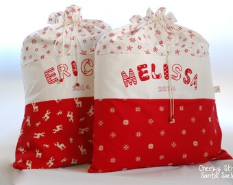 Personalized Santa sack red and white size XL (67 x 52cm), large Christmas sack with name, Santa bag, Reindeer sack, custom Santa sack