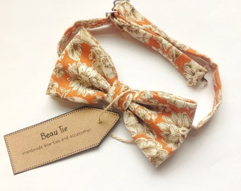 mens bow tie orange floral, floral bow tie, orange bow tie, cotton bow tie, wedding bow tie