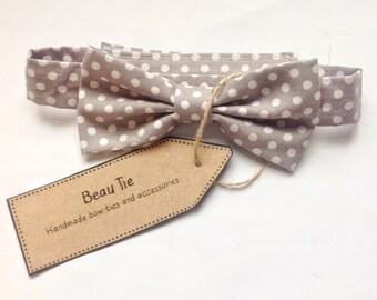 Baby boys bow tie, grey baby bow tie, polka dot boys bow tie, baby cotton bow tie