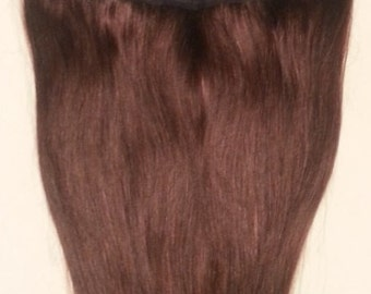 18inches Flip in hair, One Long Piece Clip In Human Hair Extensions, 4 clips, 2 Darkest Brown