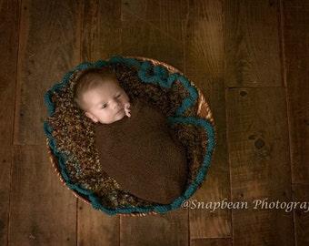 Brown Baby Blanket, Baby, Crochet Blanket, Newborn, Blue, Layering Blanket, Mini Blanket, Wrap, Baby Wrap, Photo Prop, Photography Prop