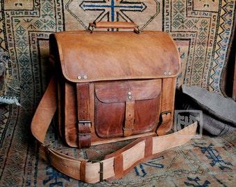"""FHT Camel Leather Graduate Messenger Bag Shoulder Travel Satchel 12""""x14""""x6"""""""