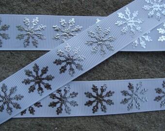 """3 yards Christmas Printed Ribbon 7/8"""" Snowflake Ribbon Christmas  Hair Bow Ribbon"""