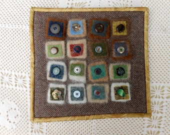 Fiber Art Wall hanging, needle felted alpaca and upcycled wool, with buttons beads thread, wool wall art, rustic in browns, all handmade