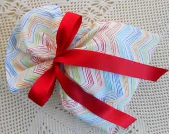 Chevron Fabric Gift Bag wrap  7 x 10 inch rainbow on white jewelry box size, all occasion birthday special gift, Reusable Festive cloth bag