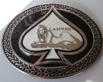 Vintage LANVIN Oval Belt Buckle,Mermaid in the Peak,Nymph in Spades,Black&White Enamel