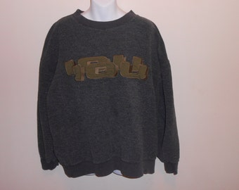 Vintage 90s Gray & Olive Green IOU Embroidered Crewneck Sweatshirt Sz L