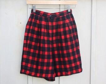 Vintage Linen Shorts - Buffalo Plaid Shorts - Red and Black Gingham Shorts - High Waist Shorts - Checkered Shorts - Plaid Shorts - Tartan