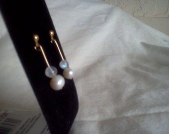 moonstone and pearl dangle earrings