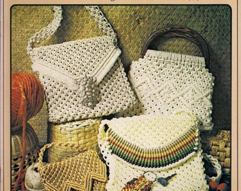 Vintage Macrame Purse Strings Craft Book Patterns with instructions