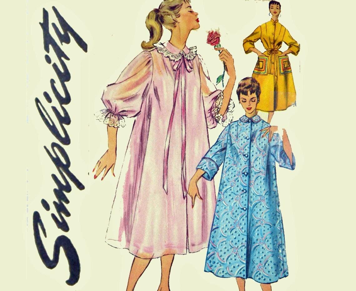 motif de womens robe vintage des ann es 50 1950 s duster. Black Bedroom Furniture Sets. Home Design Ideas