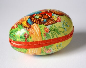 Vintage Easter egg box, Paper mache egg, West Germany, Easter candy box