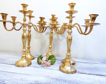 15  Wedding Candelabras 3 arm Shabby Candle Holder Antique Gold Distressed