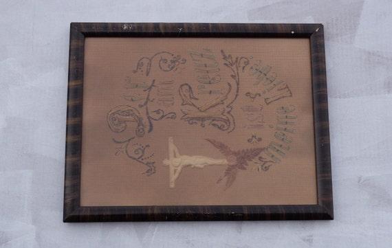 Sale vintage framed ribbon embroidery hand made german