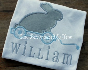 Boys Easter Bunny Rabbit Vintage Pull Toy Monogrammed Appliqued and Personalized Shirt