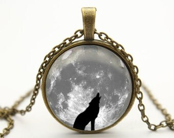 wolf necklace moon necklace pendant moon jewelry wolf jewelry- with free jewelry box