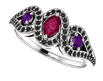 Rhodolite Garnet, Amethyst & Black Diamonds in 14K White Gold