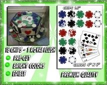 Edible Poker chips and royal flush for cakes, edible frosting icing sugar paper, cards spades cut outs images pictures photos decals sticker