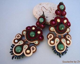 long chandelier soutache earrings, bordeaux soutache earrings, bordeaux-green earrings, long statement earrings, soutache jewelry, earrings