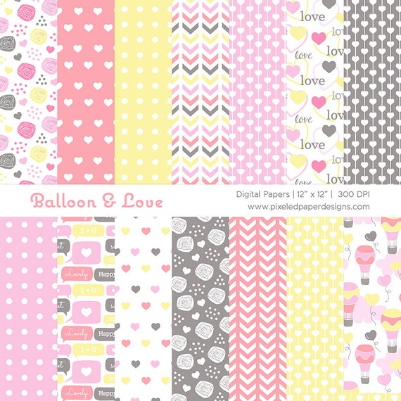 Digital Paper Pack - Balloon & Love Background for Birthday, Party, Scrapbook, Photography, Invites | Commercial License Available.