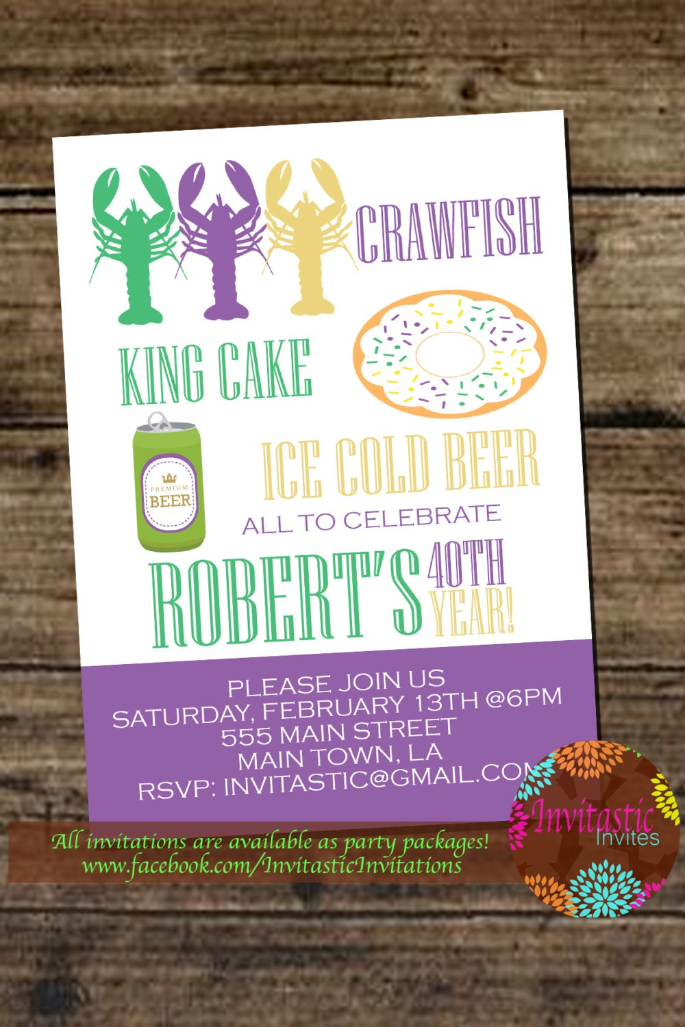 Crawfish Boil Mardi Gras Birthday Party Invitation Crawfish