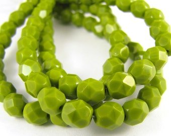 Opaque Olive Green 6mm Facet Round Czech Glass Fire Polished Beads 25pc #2348