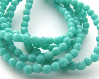 NEW Opaque Turquoise 2mm Facet Round Czech Glass Fire Polished Beads 50pc #2330