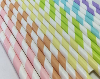Pastel Rainbow birthday party Shower 24 Paper striped stripes paper straws