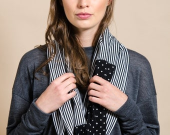Blue and white scarf, infinity loop scarf, stripes and dots scarf , gift idea