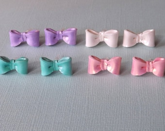Pastel Bow Earrings - Plastic Posts - Metal Free Earrings - Polymer Clay Bow Studs - Assorted Colors