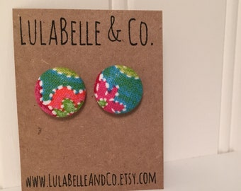 CLEARANCE!  Tropical Swirl Button Earring
