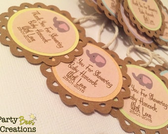 Personalised elephant baby shower gift tags