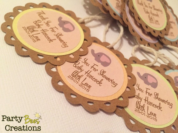 Personalised Baby Gift Tags Uk : Personalised elephant baby shower gift tags from