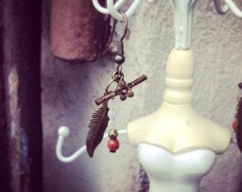 Antique brass earrings, rose quartz, goldstone.