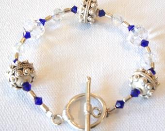 Simple and Elegant,Swarovski Crystals,Sterling Silver,Blue,Toggle Closure,Bracelet,Beaded Bracelet,Gift for Her,Gift Idea,Dainty,Feminine