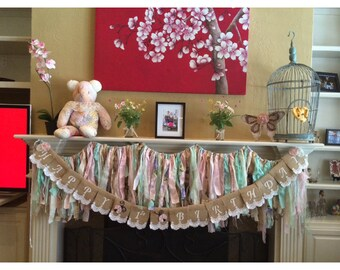 Happy Birthday Banner, Shabby Chic, Burlap, Multi-Color, Lace, Burlap Banner