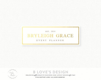 PreMade Customizable Logo Design with Gold Foil Border for Small Business, Photography, Design, Blog