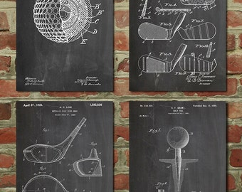 Lovely Golf Patent Posters Group Of 4, Golf Gifts For Men, Golf Decor, Office